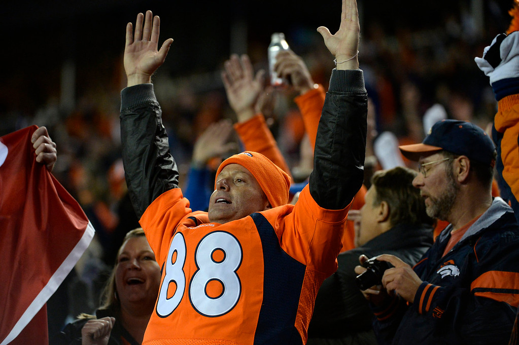 . Broncos fans cheer in the first quarter. The Denver Broncos take on the Kansas City Chiefs at Sports Authority Field at Mile High in Denver on November 17, 2013. (Photo by Tim Rasmussen/The Denver Post)