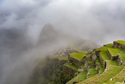 Clouds cover Una Picchu and the western terrace