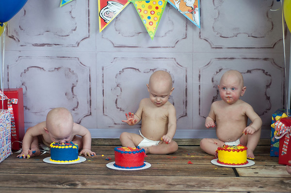 The triplets turn one