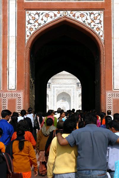 Taj Mahal as seen through the main gate.