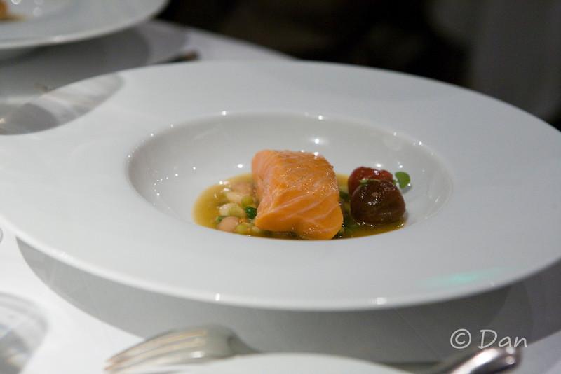 Line Caught Wild King Salmon, Summer Bean Ragout, Rich Tomato Broth