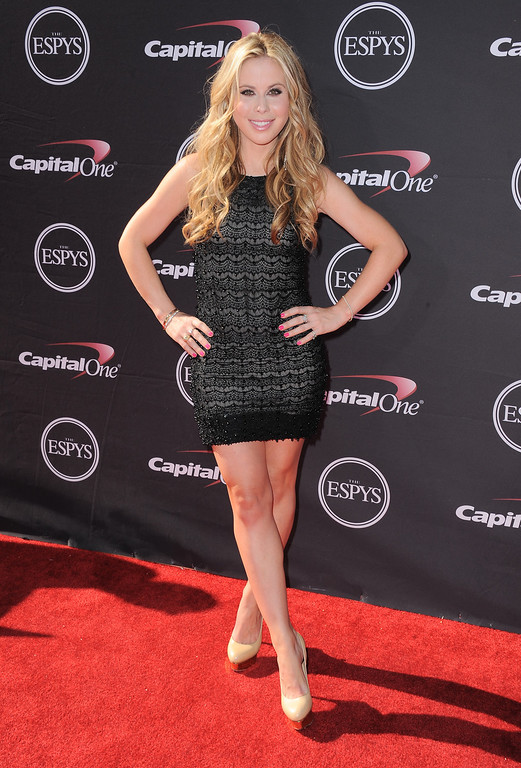 . Figure skater Tara Lipinski arrives at the ESPY Awards on Wednesday, July 17, 2013, at Nokia Theater in Los Angeles. (Photo by Jordan Strauss/Invision/AP)