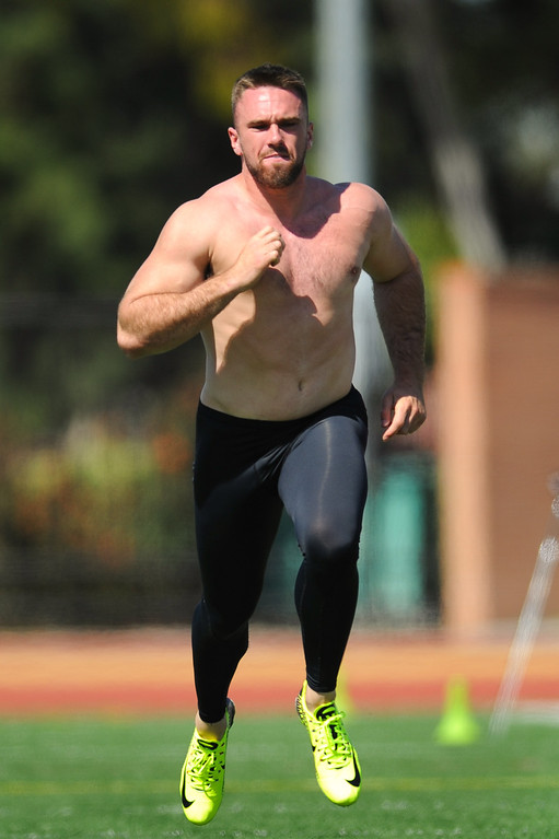 . Linebacker Morgan Breslin ran a 4.75 40-yard dash at USC Pro Day, Wednesday, March 12, 2014, at USC. (Photo by Michael Owen Baker/L.A. Daily News)