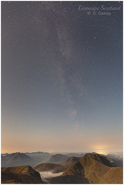 Milky Way over Lorne, Appin and Loch Etive from Stob Coire nam Beith