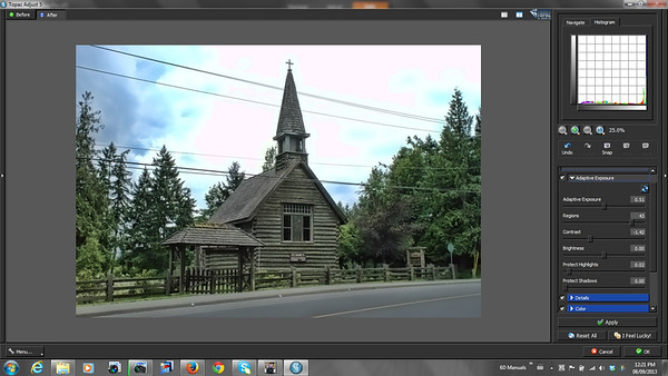 Topaz Adjust Review - Old Wood Church - Topaz Adjust Workspace