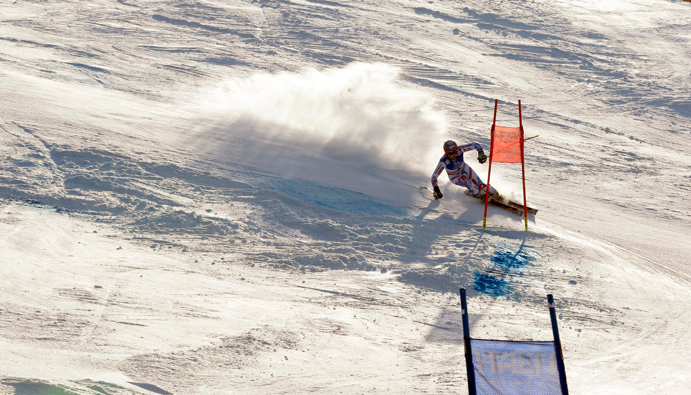 Description of . France\'s Tessa Worley speeds down the course on her way to win the women\'s giant slalom, at the Alpine skiing world championships in Schladming, Austria, Thursday, Feb.14, 2013. (AP Photo/Alessandro Trovati)