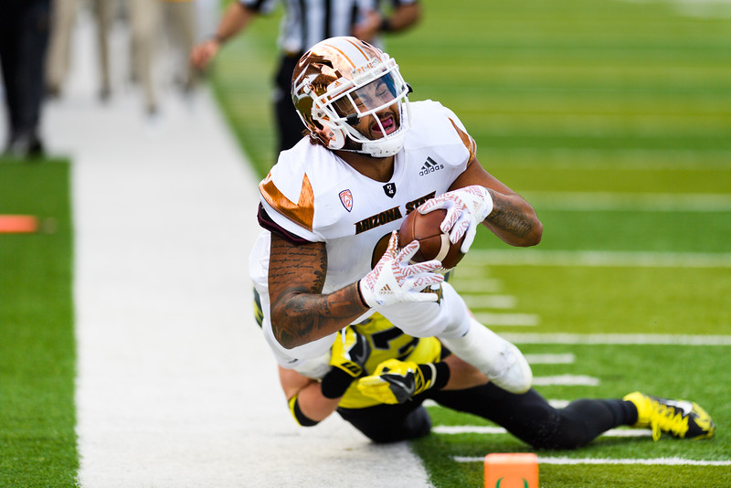 Arizona State sophomore tight end Jay Jay Wilson (9) is tackled out of bounds inches short of the end zone during the first quarter. The Arizona State Sun Devils face the Oregon Ducks at Autzen Stadium in Eugene, Oregon on October 29, 2016. (Michael Arellano/DieHard Devil)