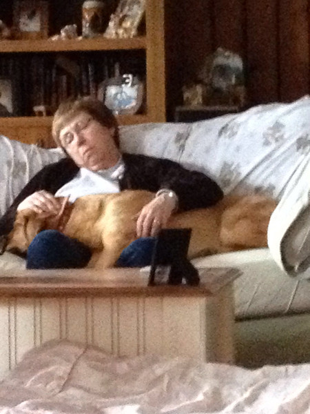 Grandma & Poly catching some zzzz's next to the wood burning stove. Very cozy.