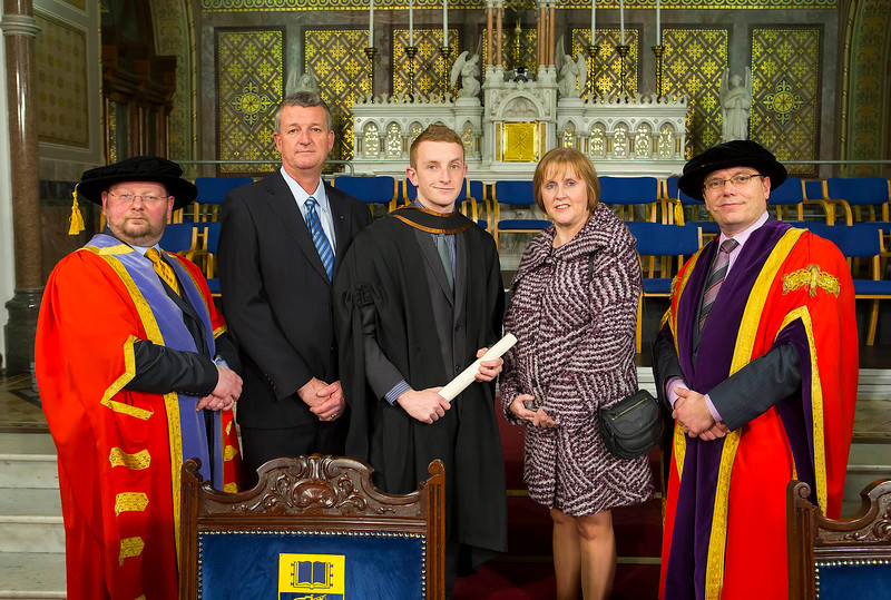 Waterford Institute Of Technology Conferring. Pictured at WIT Waterford Institute Of Technology Conferring is Lee Thorthon, Waterford  who graduated Bachelor of Business (Honours), also pictured are Dr. Derek O'Byrne. Registrar WIT,David and Belinda Thornthon, Dr. Ruaidhrí Neavyn, President WIT. Picture: Patrick Browne