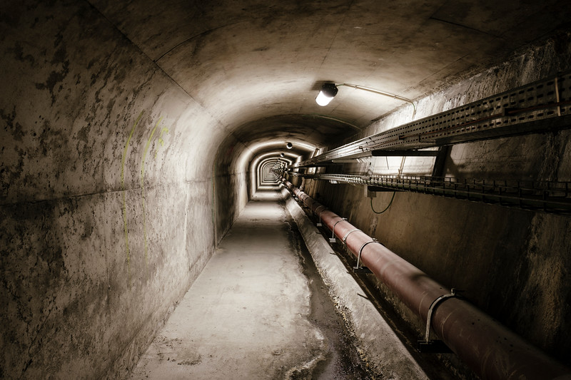Inside the underground evacuation tunnel, from emergency shelter number 17, looking towards France - Samuel Zeller for the New York Times