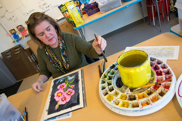 01/29/20 Wesley Bunnell | StaffrrArt Instructor Mary Smeallie during her water colors painting class at the New Britain Museum of American Art on Wednesday January 29th, 2020.