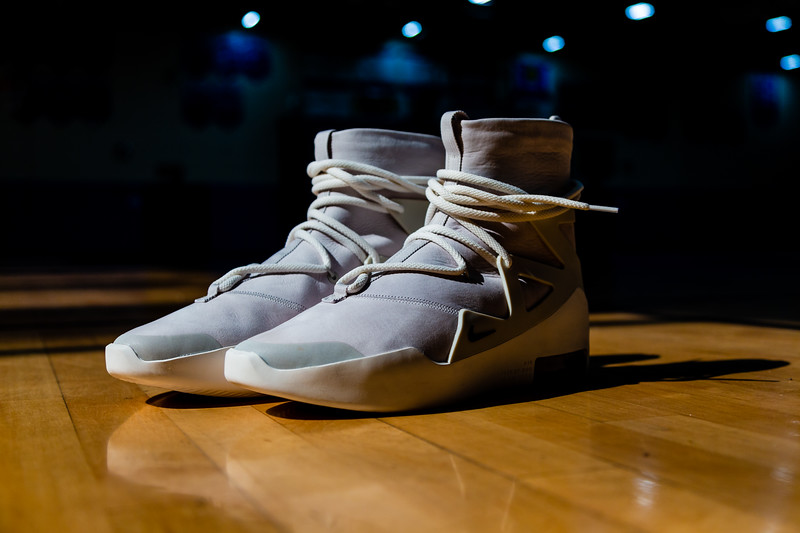 """Fashion designer Jerry Lorenzo, founder of streetwear label Fear of God and son of former Major League Baseball manager Jerry Manuel, is paying it forward with the new Nike Air Fear of God 1 Light Bone, a high top, leather and suede sneaker with a """"light bone"""" color. Lorenzo  donated the sneakers to the Wellington High School boys and girls basketball teams. Each pair costs $350.00. Image captured on Wednesday, January 16, 2019 at Wellington High School, in Wellington, Florida. [JOSEPH FORZANO/palmbeachpost.com]"""