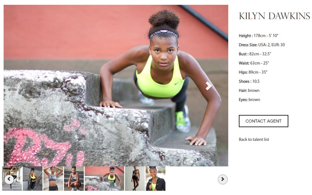 fitness model photo on option portfolio website