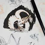 bird-dinosaur creature with a pelican beak