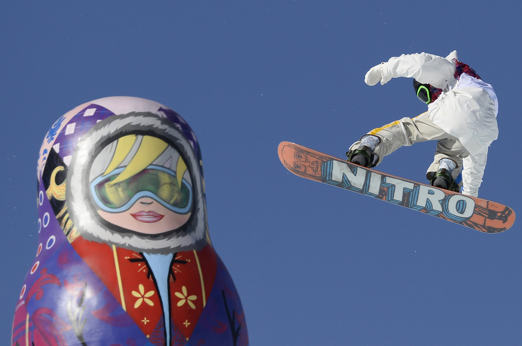 . Sweden\'s Sven Thorgren competes in the Men\'s Snowboard Slopestyle qualifications at the Rosa Khutor Extreme Park during the Sochi Winter Olympics on February 6, 2014.  AFP PHOTO / FRANCK FIFE/AFP/Getty Images