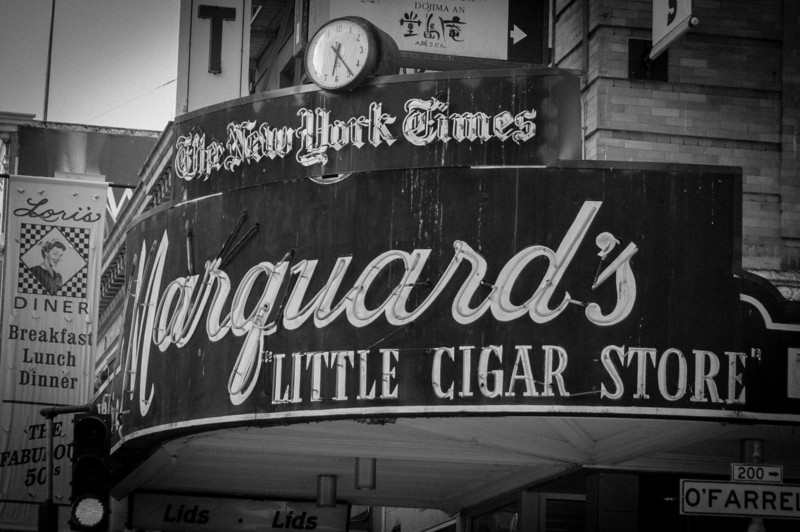 Sign outside cigar store in San Francisco, California