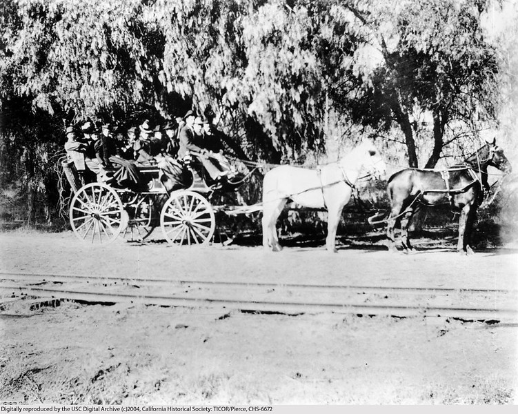 Passengers on the Sierra Madre Stage Coach, Highland Park, Los Angeles