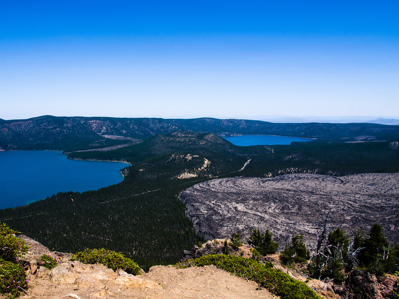 View of the Newberry Caldera, both lakes, lava flow and multiple  cinder cones
