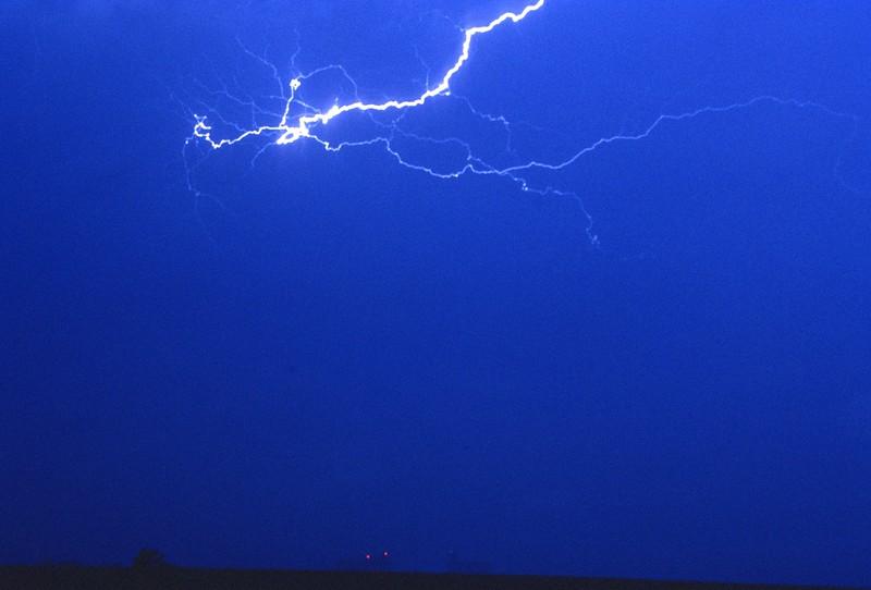 Lightning over Grain Elevators