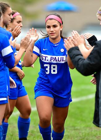 10/6/2018 Mike Orazzi | Staff St. Paul Girls Soccer's Arianna Griffin (38) Saturday.