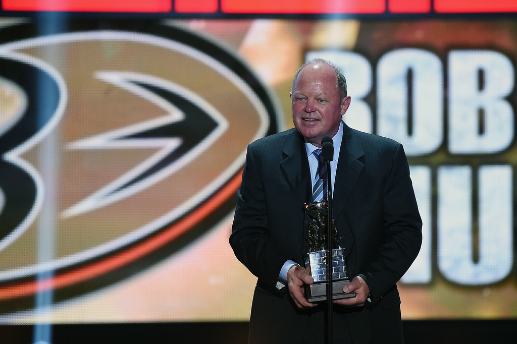 . Bob Murray of the Anaheim Ducks speaks after being named NHL General Manager of the Year during the 2014 NHL Awards at the Encore Theater at Wynn Las Vegas on June 24, 2014 in Las Vegas, Nevada.  (Photo by Ethan Miller/Getty Images)