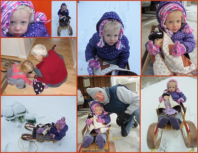 Ruth goes for a sled ride with G Papa K