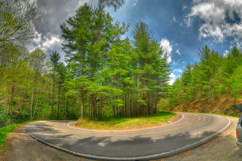 A tight hairpin turn along Highway 421 in Shady Valley, TN on Thursday, May 3, 2012. Copyright 2012 Jason Barnette