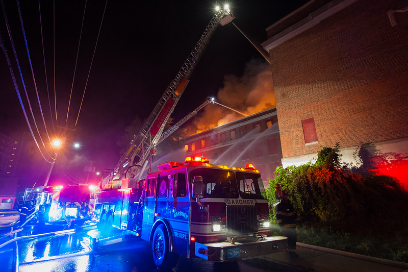 Gardner Tower 1 operates on Elm St during the 4th Alm at the former BF Brown School.