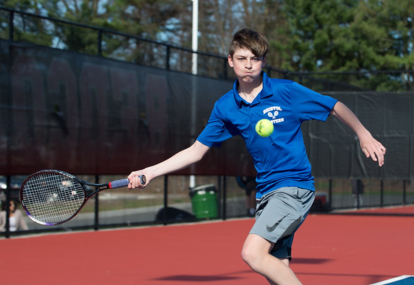 04/16/19 Wesley Bunnell | Staff Bristol Eastern boys tennis at Berlin on Tuesday afternoon. Bristol Eastern's Brandon Greger.
