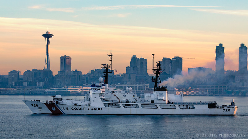 Coast Guard cutter leaving Seattle at sunrise.