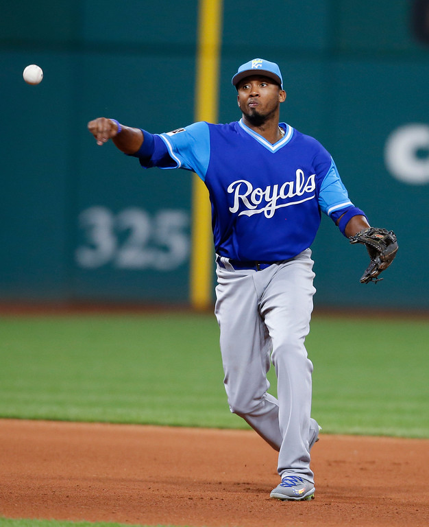 . Kansas City Royals\' Alcides Escobar throws out Cleveland Indians\' Giovanny Urshela at first base during the seventh inning in a baseball game, Saturday, Aug. 26, 2017, in Cleveland. (AP Photo/Ron Schwane)