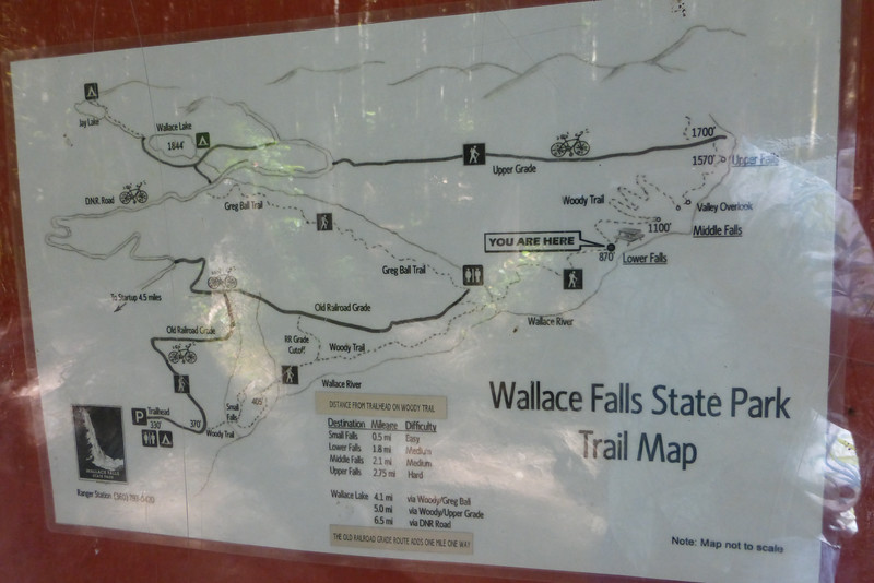 The map: We took the Woody Trail to the Falls, then the Old Railroad Grade out.