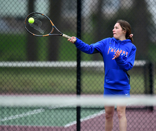4/18/2019 Mike Orazzi | Staff St. Paul's Alexis Carabetta during Thursday's girls tennis match with Naugatuck in Bristol's Page Park.
