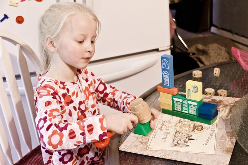 Chloe building things with blocks - May 2011