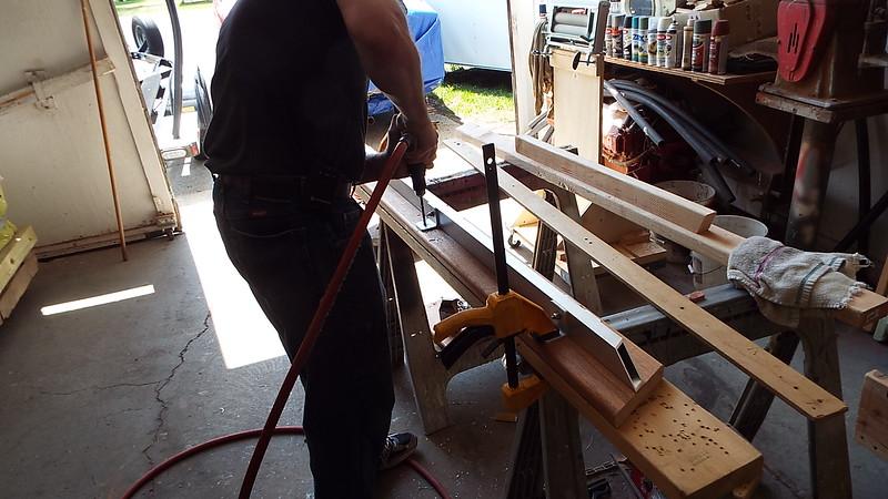 Building the trailer cross frame.