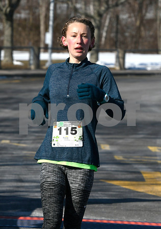 3/17/2018 Mike Orazzi | Staff Haley Knox was the first female during the 2 mile run and walk during the 16th Annual Shamrock Run and Walk held at the Chippens Hill Middle School Saturday morning.