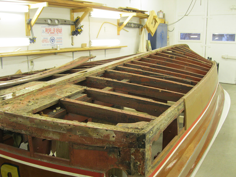 Rear port view of the bottom and bottom transom plank removed.