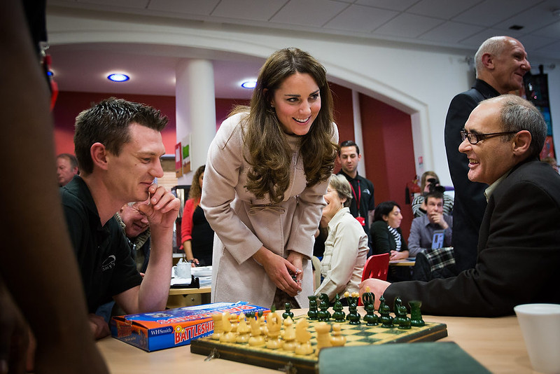 . Catherine, Duchess of Cambridge visits \'Jimmy\'s\', a night shelter, with Prince William, Duke of Cambridge, on November 28, 2012 in Cambridge, England.  (Photo by Paul Rogers - Getty Images)