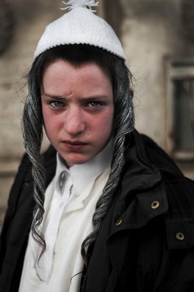 Portrait of a young Jewish man.  Mea Shearim, Jerusalem, Israel, 2012.