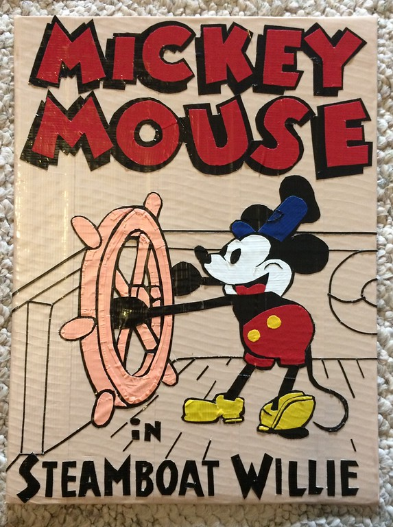 . Artwork by Jani Reddick <br> Mickey Mouse in Steamboat Willie.