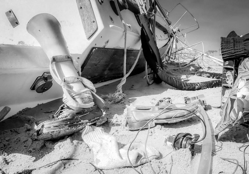 Jeff Catlin lost his sailboat when it was beached in a Santa Barbara storm and his left foot in a construction accident. This is the second boat he has lost in a little over a year.
