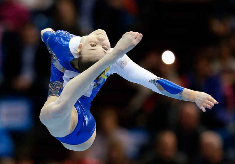 . Ukraine\'s Krystyna Sankova competes on the floor during the women\'s apparatus finals at the European Men\'s and Women\'s Artistic Gymnastic individual Championships in Moscow April 21, 2013.  REUTERS/Grigory Dukor