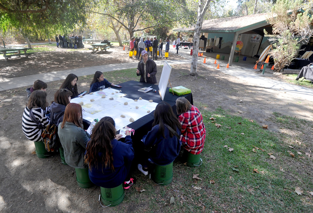 """. Instructors with the Discovery Center teach their \""""Eco Voices\"""" program to high school students at the Whittier Narrows Nature Center in South El Monte Thursday October 10, 2013. Controversies continue around the future San Gabriel River Discovery Center that is supposed to be built where the current buildings stand. (Whittier Daily News/Staff Photo by Keith Durflinger)"""