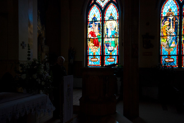 10/17/19 Wesley Bunnell | StaffrrStained glass windows at Sacred Heart Church during a tour on October 17, 2019.