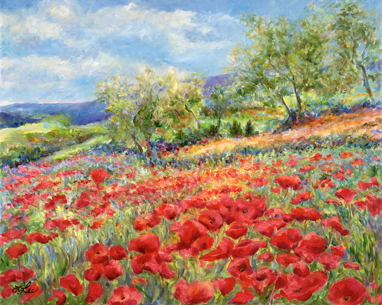 Tuscany Hills - Poppies (Re-Touched Giclee)