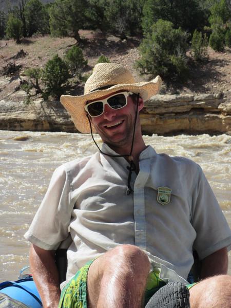 Eric Kuhl on the raft