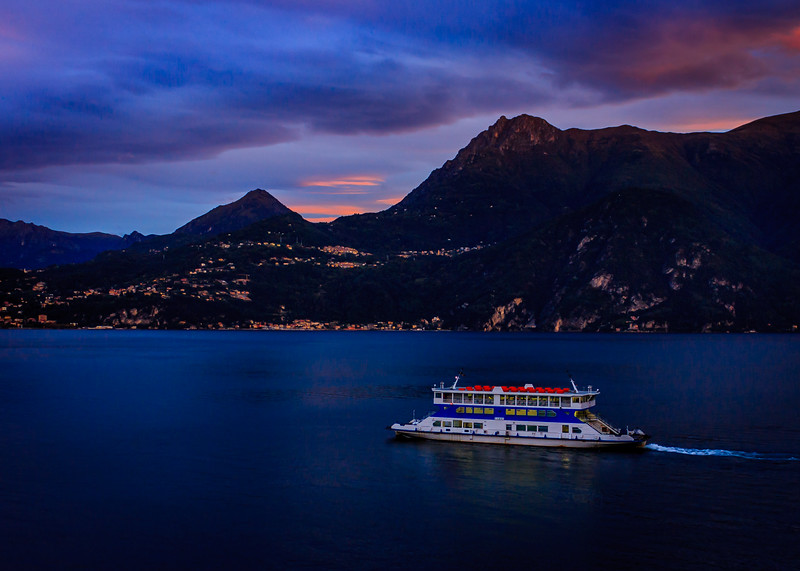 Pre-dawn ferry from Varenna toward Belagio