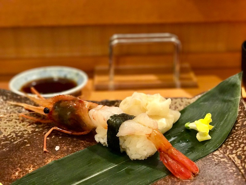 Saving the best for last - a large spot prawn nigirizushi (hand-pressed sushi).
