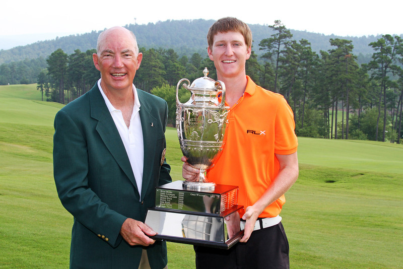 Jim Bunch and Jordan Niebrugge pose with the George R. Thorne trophy at the conclusion of the 111th Western Amateur at The Alotian Club in Roland, AR. (WGA Photo/Ian Yelton)