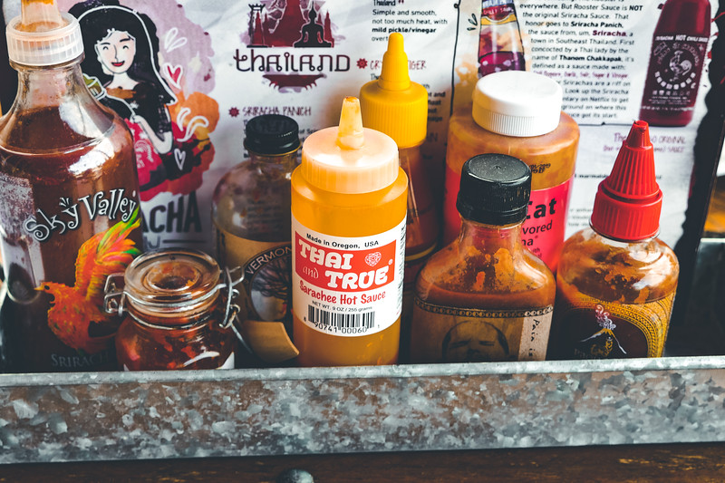 A plethora of hot sauces